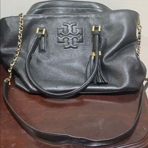 Tory Burch Soft Black Leather Tote